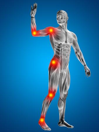 hombre rojo: Conceptual cuerpo dolor en las articulaciones hombre anatomía humana en 3D sobre fondo azul