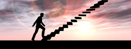 career development: Concept or conceptual 3D male businessman on stair or steps over sunset sky background banner Stock Photo