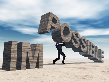 difficult mission: Concept conceptual 3D business man lifting an abstract stone impossible text on sky background Stock Photo