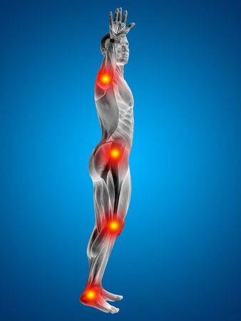 joint pain: Conceptual 3D human man anatomy joint pain body on blue background Stock Photo