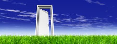 Porte blanche conceptuelle dans l'herbe verte avec la bannière de fond de ciel
