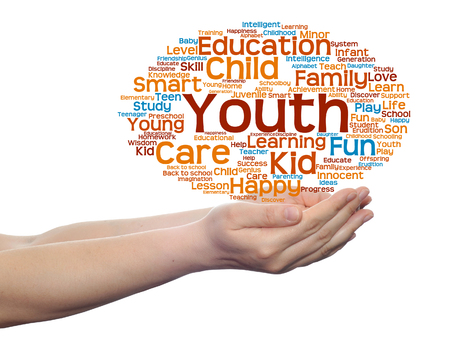 school strategy: Conceptual education word cloud in hands isolated on background