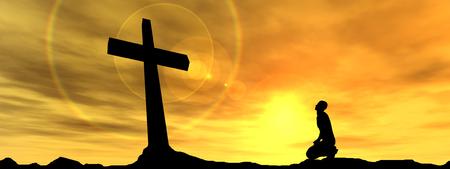 Concept conceptueel zwart kruis of religie symbool man silhouet in de rotsen over een zonsondergang hemel met zonlicht wolken achtergrond banner