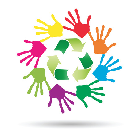 Conceptual circle or spiral made of painted human hands with green recycle symbol