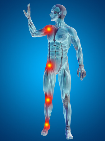 Conceptual 3D human man anatomy joint pain body on blue background Banco de Imagens