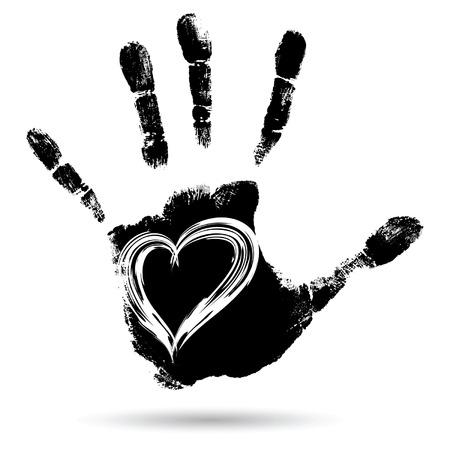 Vector concetto concettuale cute vernice mano umana o handprint del bambino con a forma di cuore isolato su sfondo bianco Vettoriali