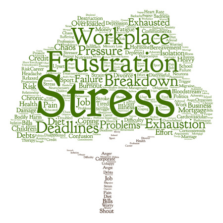 Vector conceptual mental stress at workplace or job tree word cloud isolated on background Иллюстрация