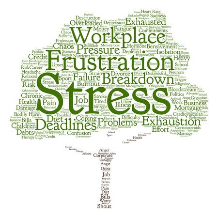 Vector konzeptionelle psychischen Stress am Arbeitsplatz oder Job Wolke Baum Wort auf Hintergrund Standard-Bild - 65534918