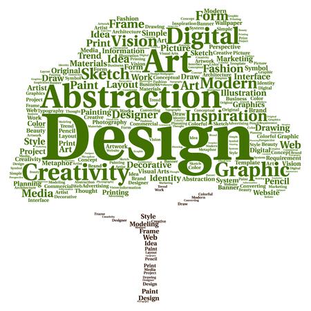 concept Vector art conceptuel créativité design graphique arborescence visuelle mot nuage isolé sur fond