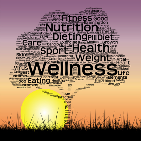 vital: Vector conceptual health tree at sunset  word cloud with sun and grass Illustration