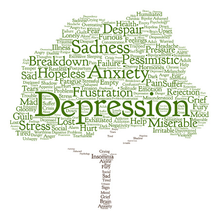 Vector conceptual depresion or mental emotional disorder abstract tree word cloud isolated
