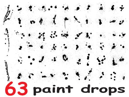 Vector zeer grote collectie of set van 63 artistieke zwarte verf handgemaakte creatieve nat vieze inkt druppelsvlekken geïsoleerd op een witte achtergrond Vector Illustratie