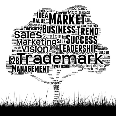 Concept or conceptual black media tree and grass word cloud on white background Stock Photo