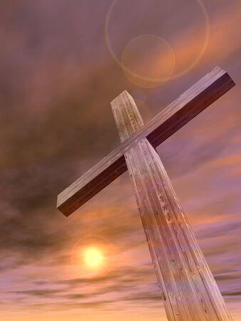 kruzifix: Konzept oder konzeptionelle Holz Kreuz oder Religion Symbol Form über einen Sonnenuntergang Himmel mit Wolken Hintergrund