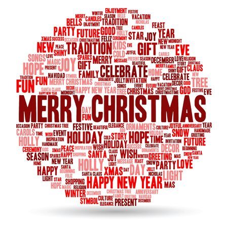 white winter: Conceptual Merry Christmas holiday or Happy New Year winter word cloud on white background Stock Photo