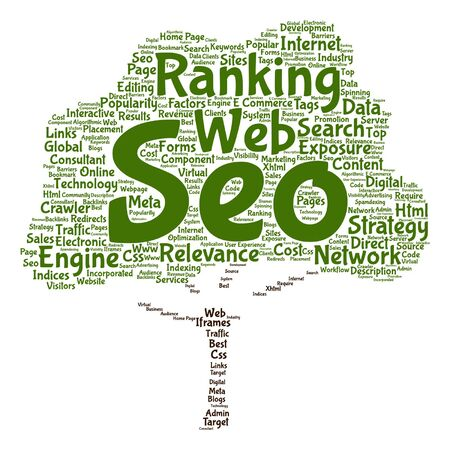 Vector concept or conceptual search engine optimization, seo abstract tree word cloud isolated