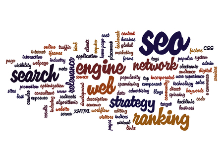 manpower: Vector concept or conceptual search engine optimization, seo abstract word cloud isolated on background