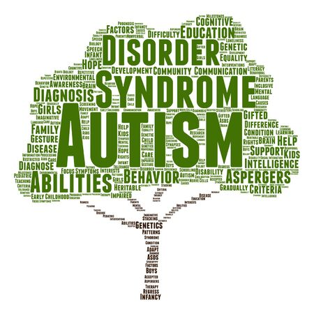 disorder: Vector conceptual childhood autism syndrome or disorder abstract tree word cloud isolated Illustration