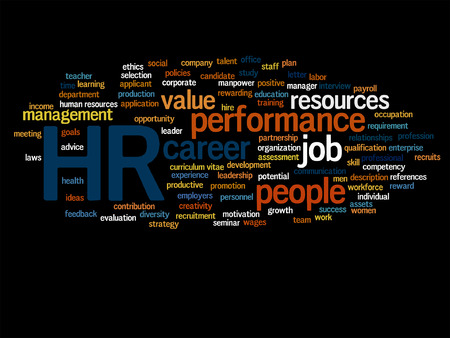 Vector concept conceptual hr or human resources word cloud