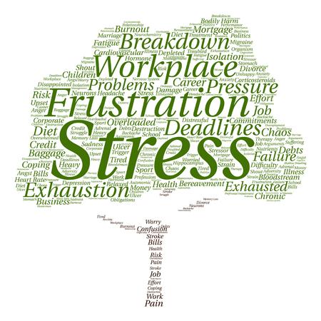 職場や仕事のツリー単語の雲を背景に分離でベクトル概念の精神的ストレス  イラスト・ベクター素材