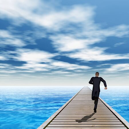 Conceptual 3D wood deck pier on coast of exotic blue sea with a businessman running