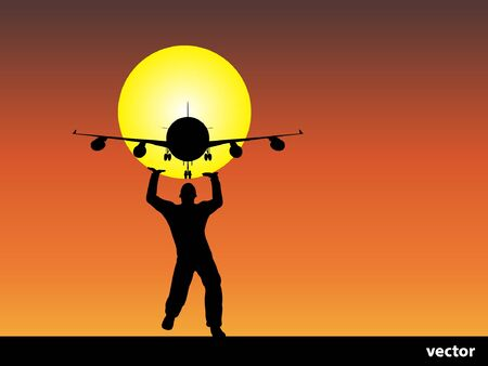 Conceptual man or businessman black silhouette over a sunset sky background with a plane or jet flying Illustration
