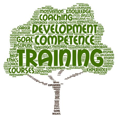 career coach: Vector concept or conceptual training, coaching or learning, tree word cloud isolated on background metaphor to mentoring, development, skills, motivation, career, potential, goals or competence Illustration