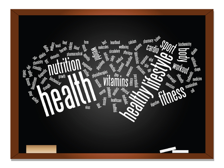 dieting: Vector concept or conceptual abstract word cloud on blackboard and chalk background
