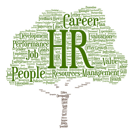 Vector concept conceptual hr or human resources tree word cloud isolated on background