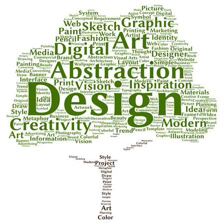 creativity: Vector concept conceptual creativity art graphic design visual tree word cloud isolated on background