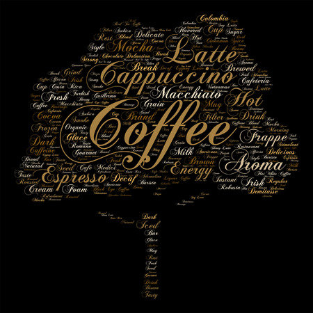 macchiato: Vector concept conceptual creative hot coffee, cappuccino or espresso abstract tree word cloud isolated