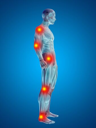 Conceptual 3D human man anatomy joint pain body on blue background Stock Photo