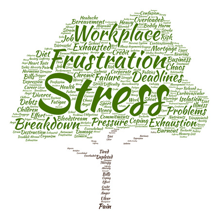 tense: Vector conceptual mental stress at workplace or job tree word cloud isolated on background Illustration
