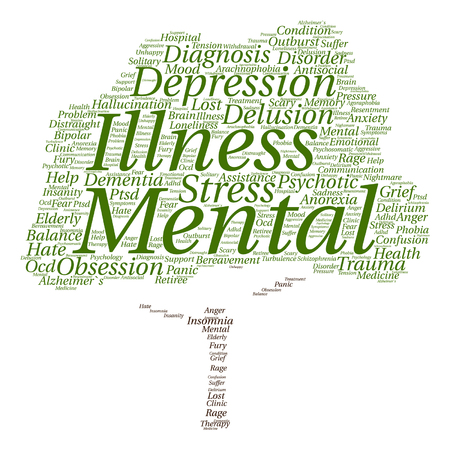 delusion: Vector conceptual mental illness disorder management or therapy abstract tree word cloud isolated