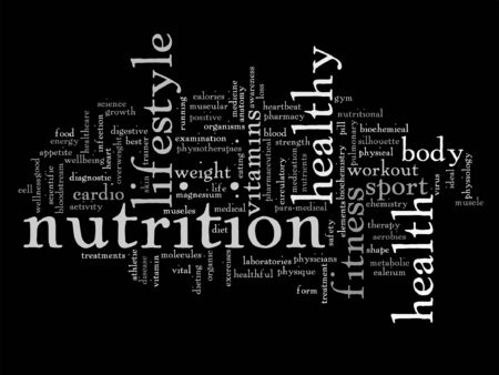 Vector conceptual health or diet word cloud concept isolated on background Ilustração Vetorial
