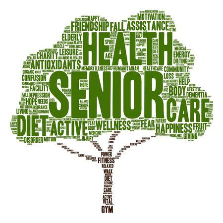 Vector conceptuele oude senior gezondheid, zorg of ouderen abstracte boom word cloud geïsoleerde