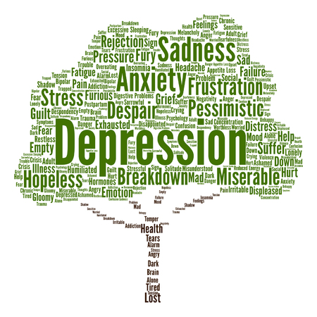 worthless: Vector conceptual depresion or mental emotional disorder abstract tree word cloud isolated