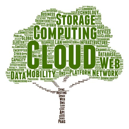 Vector concept conceptual web cloud computing technology abstract tree wordcloud isolated