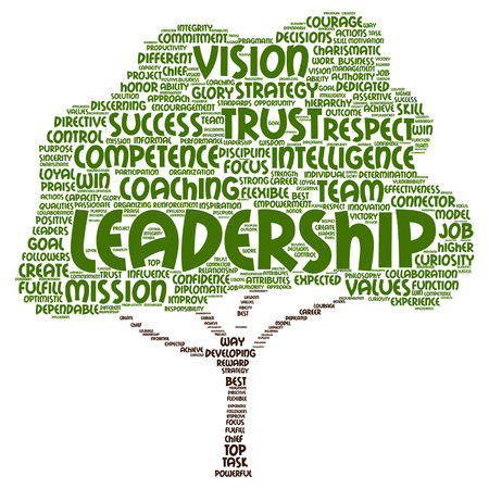 Vector concept or conceptual business leadership, management value tree word cloud isolated on background