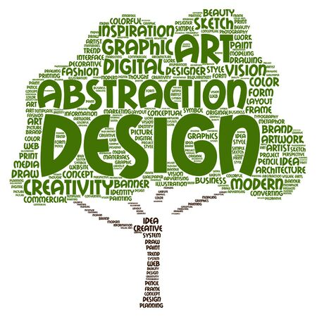Vector concept conceptual creativity art graphic design visual tree word cloud isolated on background