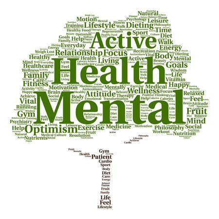 regeneration: Vector conceptual mental health or positive thinking abstract tree word cloud isolated