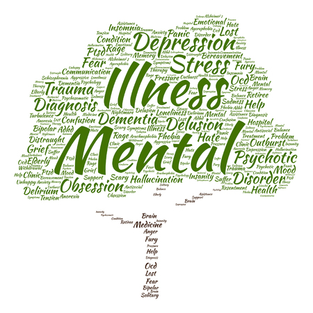 mental illness: Vector concept conceptual mental illness disorder management or therapy abstract tree word cloud isolated on background