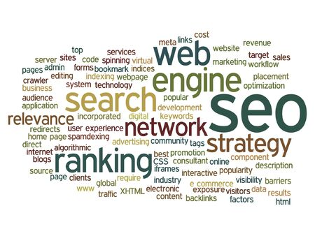 optimizing: Vector concept or conceptual search engine optimization, seo abstract word cloud isolated on background