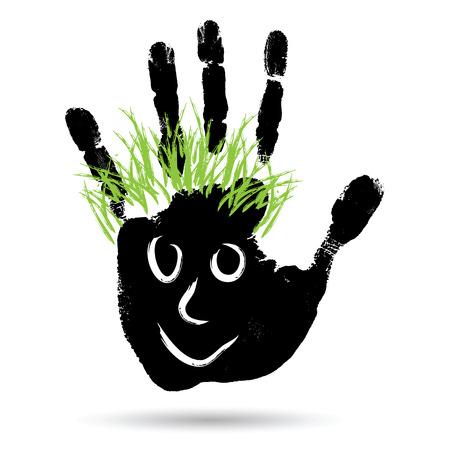 caras pintadas: Conceptual mano humana pintura lindo o huella de la mano del niño con la cara feliz y el pelo verde aislado en blanco Foto de archivo