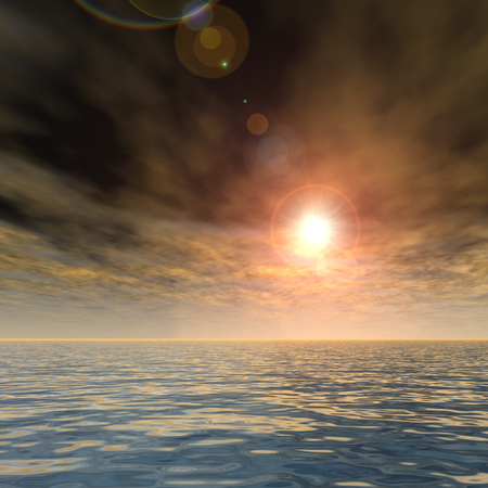 horizon reflection: 3D conceptual sunset or sunrise background with the sun close to horizon and sea or ocean