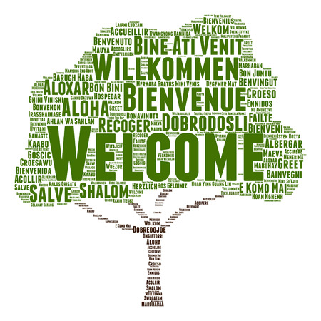 Vector concept or conceptual welcome or greeting international tree word cloud in different languages or isolated Illustration