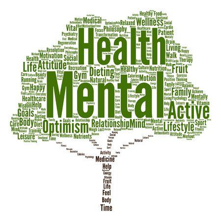 Vector konzeptionelle geistige Gesundheit oder positiv denken abstrakten Baum Wortwolke getrennt Standard-Bild - 67063409