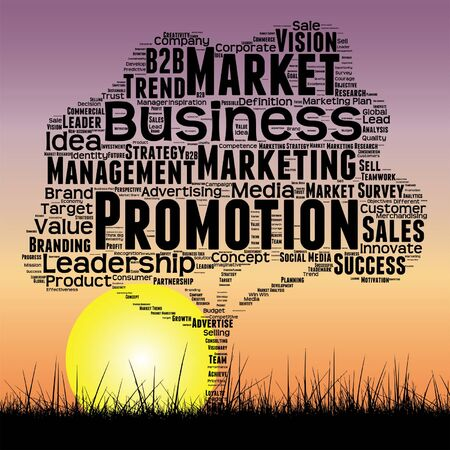 Vector conceptual media business tree at sunset  word cloud with sun and grass Illustration