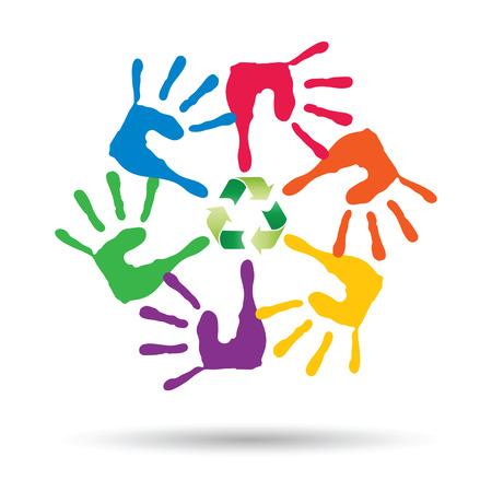 niños reciclando: círculo o espiral hecha de manos humanas pintadas con el símbolo de reciclaje verde vector conceptual Vectores