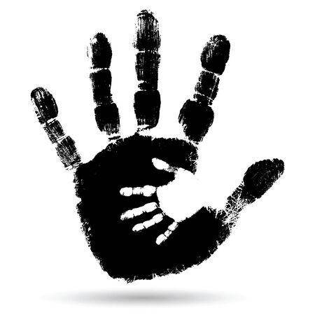 Vector concept of conceptueel schattige zwarte verf hand van de moeder kind handafdruk op een witte achtergrond